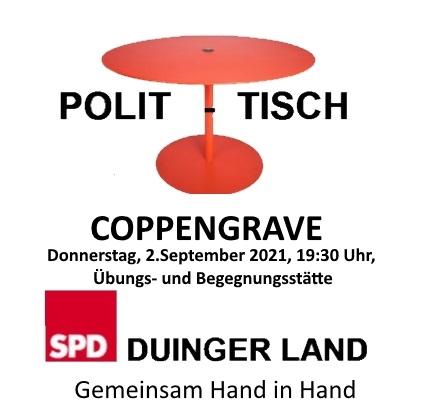 """POLIT-TISCH"" COPPENGRAVE, DONNERSTAG, 2.9.2021"